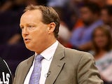 Coach Mike Budenholzer on the sidelines on April 25, 2012
