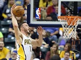 Indiana Pacers' Miles Plumlee in action against Philadelphia 76ers on April 17, 2013