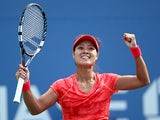Na Li celebrates her win over Ekaterina Makarova during their US Open quarter final match on September 3, 2013