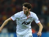 Man Utd's Nick Powell in action against Galatasaray on November 20, 2012