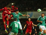 Cristiano Ronaldo of Portugal scores during the FIFA 2014 World Cup Qualifying Group F match between Northern Ireland and Portugal at Windsor Park on September 6, 2013