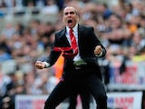 Sunderland manager Paolo Di Canio celebrates the first Sunderland goal during the Barclays Premier League match between Newcastle United and Sunderland at St James' Park on April 14, 2013
