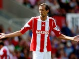 Peter Crouch of Stoke during a Pre Season Friendly between Stoke City and Genoa at Britannia Stadium on August 10, 2013
