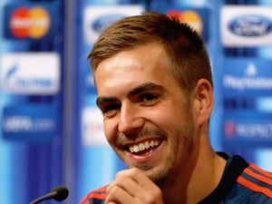 Philipp Lahm of Bayern Munich talks to the media prior to the UEFA Super Cup match between Bayern Muenchen and Chelsea FC at Stadion Eden on August 29, 2013