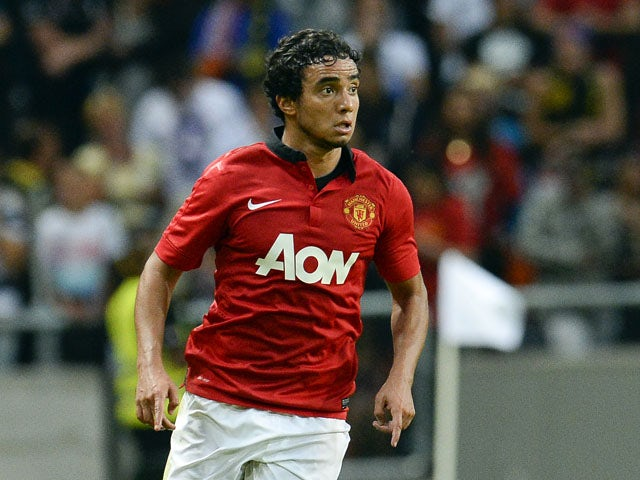 Manchester United's defender Rafael Da Silva controls the ball during a friendly football match between AIK and Manchester United on August 6, 2013