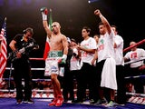 Raymundo Beltran is announced before his WBO World Lightweight Title bout with Ricky Burns at SECC on September 7, 2013