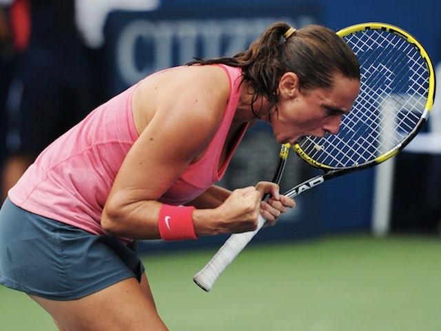 Roberta Vinci celebrates her US Open win over Camila Giorgi on September 2, 2013