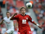 Leverkusen's striker Stefan Kiessling in action during the German first division Bundesliga match between Bayer 04 Leverkusen and SC Freiburg in the stadium in Leverkusen, Germany, on August 10, 2013