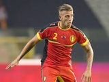 Toby Alderweireld of Belgium runs with the ball during the International friendly match between Belgium and France at the King Baudouin Stadium on August 14, 2013