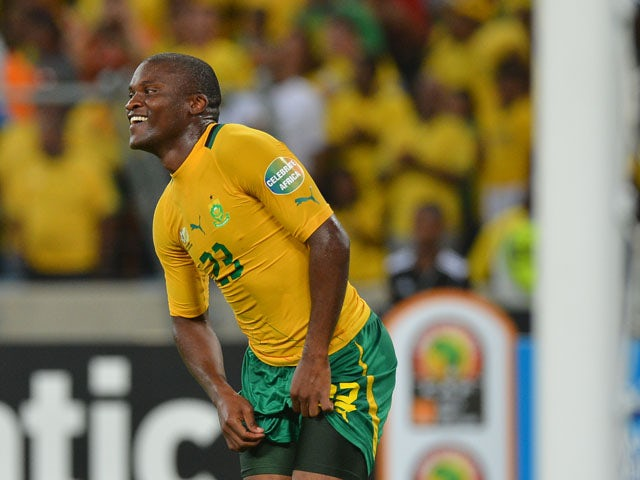 South Africa's striker Tokelo Rantie celebrates after scoring a goal during the African Cup of Nation 2013 quarter final football match South-Africa vs Mali, on February 2, 2013