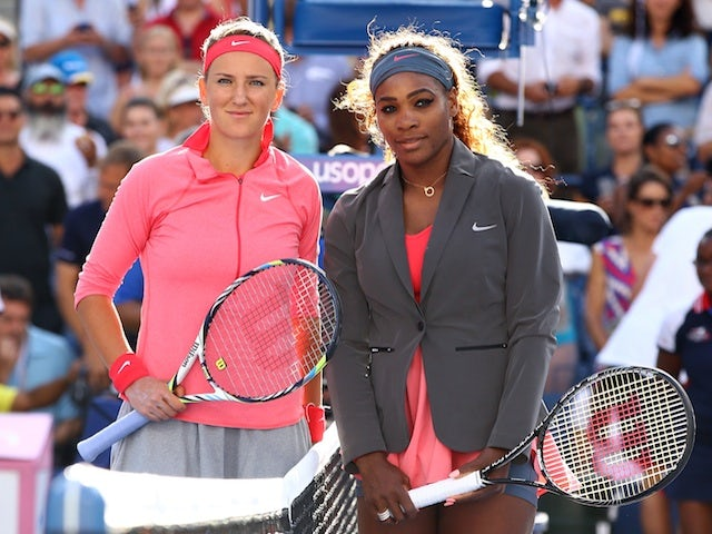 Victoria Azarenka and Serena Williams pose before their US Open final on September 8, 2013