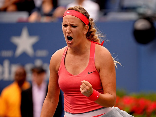 Victoria Azarenka celebrates her win against Ana Ivanovic during the fourth round of the US Open on September 3, 2013, 2013