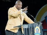 Former Tampa Bay Buccaneers' Warren Sapp during his speech at the NFL Class of 2013 Enshrinement Ceremony on August 3, 2013