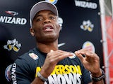 Anderson Silva speaks during a press conference for UFC 162 at X-Gym on June 12, 2013