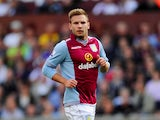 Aston Villa player Andreas Weimann in action during the Barclays Premier League match between Aston Villa and Liverpool at Villa Park on August 24, 2013