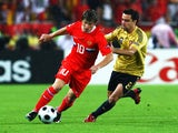 Andrei Arshavin of Russia is challenged by Xavi Hernandez of Spain during the UEFA EURO 2008 Semi Final match between Russia and Spain at Ernst Happel Stadion on June 26, 2008