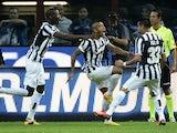 Juventus midfielder Arturo Vidal celebrates a goal against Inter on September 14, 2013