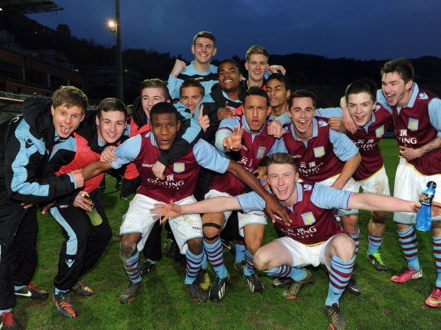 Aston Villa youngsters celebrate winning the NextGen Series.
