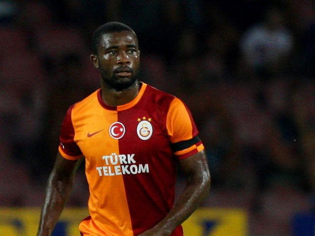 Aurelien Chedjou of Galatasaray in action during the pre-season friendly match between SSC Napoli and Galatasaray at Stadio San Paolo on July 29, 2013