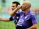Fiorentina's Borja Valero celebrates after scoring the opener against Cagliari on September 15, 2013