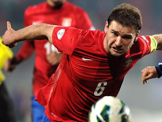Serbia's Branislav Ivanovic in action against Scotland during their World Cup qualifying match on March 26, 2013