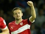 Stuttgart's Christian Gentner celebrates a goal against Hertha Berlin on September 13, 2013