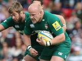 Leicester Tigers prop Dan Cole carries the ball forward in an Aviva Premiership match against Worcestor Warriors on September 8, 2013
