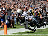 Chargers' Eddie Royal dives into the end zone against the Eagles on September 15, 2013