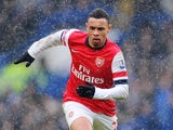 Francis Coquelin of Arsenal in action during the Barclays Premier League match between Chelsea and Arsenal at Stamford Bridge on January 20, 2013