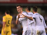 Debutant Gareth Bale celebrates his first goal for Real Madrid following a tap-in against Villarreal on September 14, 2013