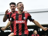 West Brom defender Gareth McAuley celebrates a late goal against Fulham on September 14, 2013