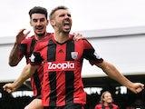 West Brom defender Gareth McAuley celebrates a late goal against Fulham on September 14, 2013