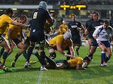 Australia's Israel Folau scores a try against Argentina during their Rugby Championship match on September 14, 2013