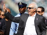 Jeffrey Lurie, owner of the Philadelphia Eagles, waves from the field before the start of a game against the Detroit Lions at Lincoln Financial Field on October 14, 2012
