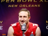 Joe Staley #74 of the San Francisco 49ers answers questions from the media during Super Bowl XLVII Media Day ahead of Super Bowl XLVII at the Mercedes-Benz Superdome on January 29, 2013