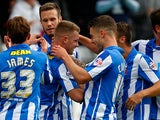 Hartlepool's Jonathan Franks is congratulated by team mates after scoring the opener against Accrington Stanley on September 14, 2013