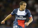 PSG midfielder Lucas Moura in action against Ajaccio on August 18, 2013