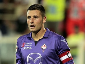 Manuel Pasqual of ACF Fiorentina looks during the Serie A match between ACF Fiorentina and Calcio Catania at Stadio Artemio Franchi on August 26, 2013