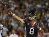 Matt Schaub #8 of the Houston Texans throws the ball during the game against the San Diego Chargers on September 9, 2013