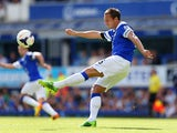 Phil Jagielka of Everton clears the ball during the Barclays Premier League match between Everton and West Bromwich Albion at Goodison Park on August 24, 2013