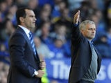 Opposing bosses Roberto Martinez and Jose Mourinho on the touchline during their game on September 14, 2013