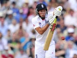 England's Simon Kerrigan batting during play on the fifth day of the fifth Ashes cricket test match between England and Australia at the Oval in London on August 25, 2013