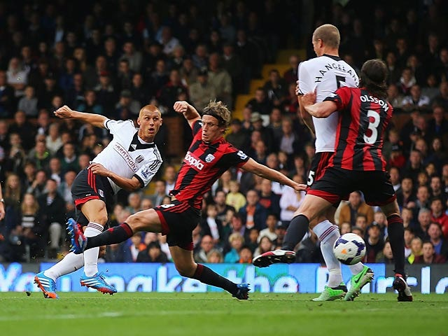 Fulham's Steve Sidwell scores the opening goal against West Brom on September 14, 2013