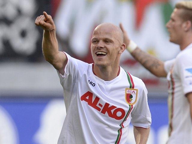 Augsburg midfielder Tobias Werner celebrates scoring a goal against Fuerth in May 2013.