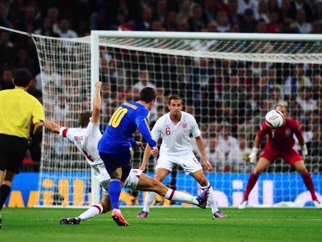 Yevhen Konoplianka scores for Ukraine against England at Wembley in September 2012.