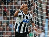 Newcastle's Yoan Gouffran celebrates after scoring his team's second goal against Aston Villa on September 14, 2013