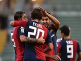 Cagliari's Albin Ekdal celebrates a goal against Sampdoria on September 21, 2013