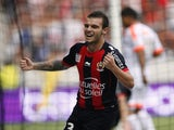 Nice's Alexy Bosetti celebrates scoring against Valenciennes on September 22, 2013