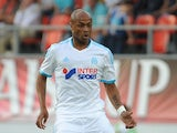 Andre Ayew of Olympique Marseille in action during the pre-season friendly match between FC Porto and Olympique Marseille at Estadio Tourbillon on July 13, 2013