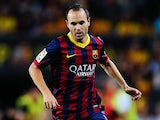 Barcelona's Andres Iniesta in action against Sevilla during their La Liga match on September 14, 2013
